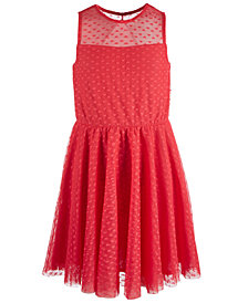 Epic Threads Big Girls Heart-Mesh Dress, Created for Macy's