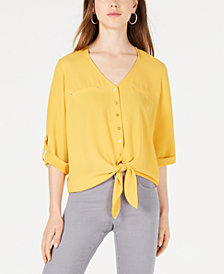 BCX Juniors' Tie-Waist Button-Front Blouse