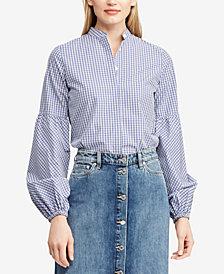 Lauren Ralph Lauren Plaid Puff-Sleeve Cotton Top