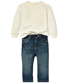 Polo Ralph Lauren Baby Boys Flag Sweatshirt & Jeans Set