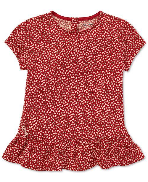 Polo Ralph Lauren Baby Girls Floral-Print Cotton Peplum T-Shirt