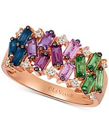 Multi-Gemstone (1-1/3 ct. t.w.) & Nude™ Diamond (1/6 ct. t.w.) Ring in 14k Rose Gold