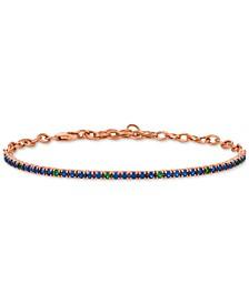 Sapphire (1-1/3 ct. t.w.) & Tsavorite (1/5 ct. t.w.) Link Bracelet in 14k Rose Gold