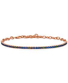 Le Vian® Sapphire (1-1/3 ct. t.w.) & Tsavorite (1/5 ct. t.w.) Link Bracelet in 14k Rose Gold