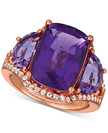 Le Vian® Amethyst (7-3/8 ct. t.w.) & White Sapphire (1/4 ct. t.w.) Ring in 14k Rose Gold