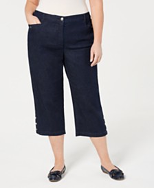 Karen Scott Plus Size Denim Capri Pants, Created for Macy's