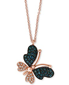 "EFFY® Diamond Butterfly 18"" Pendant Necklace (1/5 ct. t.w.) in 14k Rose Gold"