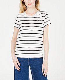 Maison Jules Stripes & Floral Tie-Back Top, Created for Macy's