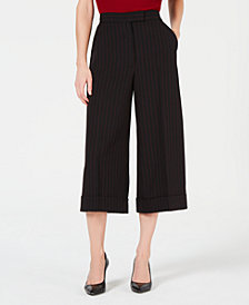 Anne Klein Pinstriped Wide-Leg Pants