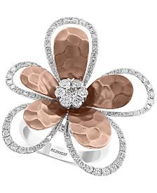 EFFY® Diamond Flower Ring (1-1/4 ct. t.w.) in 14k White & Rose Gold