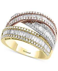 EFFY® Diamond Baguette Tricolor Ring (1-1/2 ct. t.w.) in 14k Gold, White Gold & Rose Gold