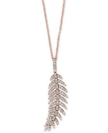"EFFY® Diamond Feather 18"" Pendant Necklace (5/8 ct. t.w.) in 14k Rose Gold"