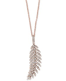 """EFFY® Diamond Feather 18"""" Pendant Necklace (5/8 ct. t.w.) in 14k Rose Gold"""