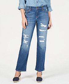 Style & Co Destructed Curvy-Fit Boyfriend Jeans, Created for Macy's