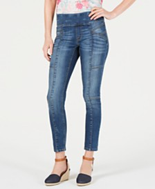 Style & Co Cotton Petite Seamed Pull-On Skinny Jeans, Created for Macy's