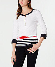 Tommy Hilfiger Cotton Colorblocked Zipper-Neck Top, Created for Macy's