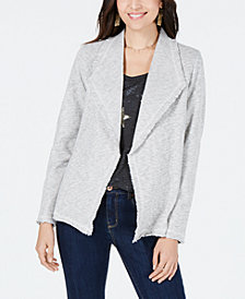 Style & Co Cotton Wide-Lapel Open-Front Blazer, Created for Macy's