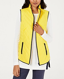 Contrast-Trim Zip-Front Vest, Created for Macy's