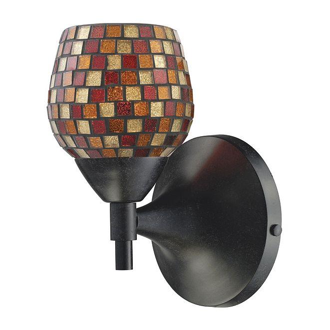 ELK Lighting Celina 1-Light Sconce in Dark Rust with Multi Fusion Glass