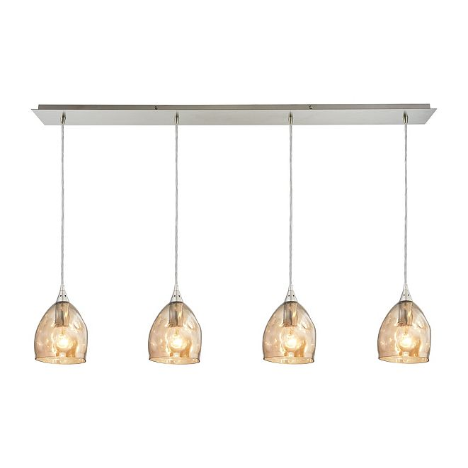 ELK Lighting Niche 4 Light Pendant in Satin Nickel and Champagne Plated Glass