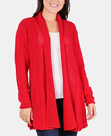 NY Collection Multi-Textured Shawl Collar Cardigan