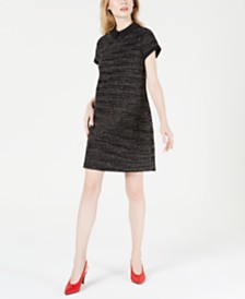 Maison Jules Collared Printed Shift Dress, Created for Macy's