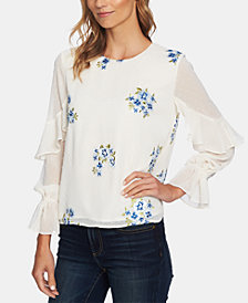 CeCe Flower-Embroidered Ruffle-Trim Blouse