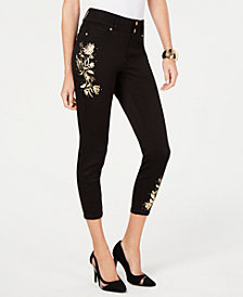 Thalia Sodi Embroidered Cropped Skinny Jeans, Created for Macy's