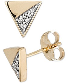 Diamond Accent Triangle Stud Earrings in 14k Gold