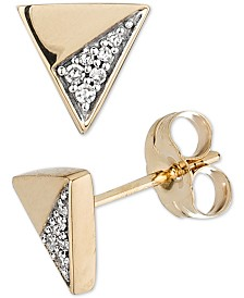 Elsie May Diamond Accent Triangle Stud Earrings in 14k Gold
