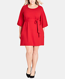 City Chic Trendy Plus Size Bubble-Sleeve Dress