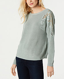 I.N.C. Lace-Shoulder Sweater, Created for Macy's