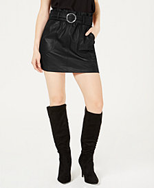 Bar III Faux-Leather Belted Skirt, Created for Macy's