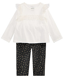 First Impressions Baby Girls Ruffled Top & Star-Print Leggings Separates, Created for Macy's