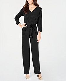 Thalia Sodi Surplice-Neck Embellished Jumpsuit, Created for Macy's