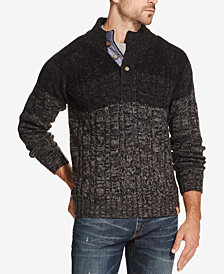 Weatherproof Vintage Men's Ombré Button Mock-Neck Sweater