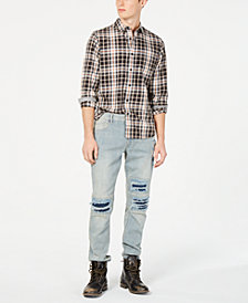 American Rag Men's Bust Out Moto Jeans & Plaid Shirt, Created from Macy's