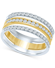 Diamond Triple Row Stack-Look Ring (1/2 ct. t.w.) in 14k Gold & White Gold
