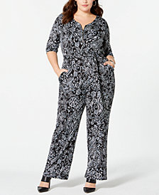 NY Collection Plus Size Printed 3/4-Sleeve Jumpsuit