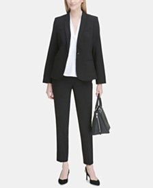 Calvin Klein One-Button Blazer & Straight-Leg Pants