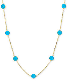 "EFFY® Turquoise Collar Necklace in 14k Gold, 16"" + 2"" extender"