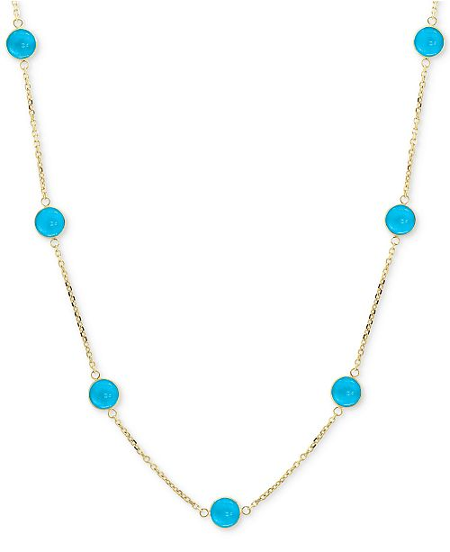 "EFFY Collection EFFY® Turquoise Collar Necklace in 14k Gold, 16"" + 2"" extender"