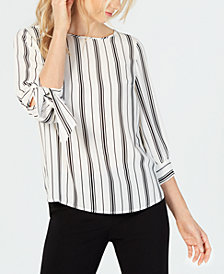 Nine West Jewel-Neck Crepe Printed Blouse