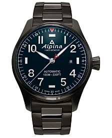 Alpina Men's Swiss Automatic Startimer Pilot Heritage Titanium Colored Stainless Steel Bracelet Watch 44mm