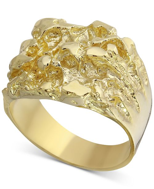 Macy S Men S Nugget Ring In 10k Gold Reviews Rings Jewelry