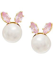 Children's Cultured Freshwater Button Pearl (5-3/4mm) & Cubic Zirconia Bunny Stud Earrings in 14k Gold