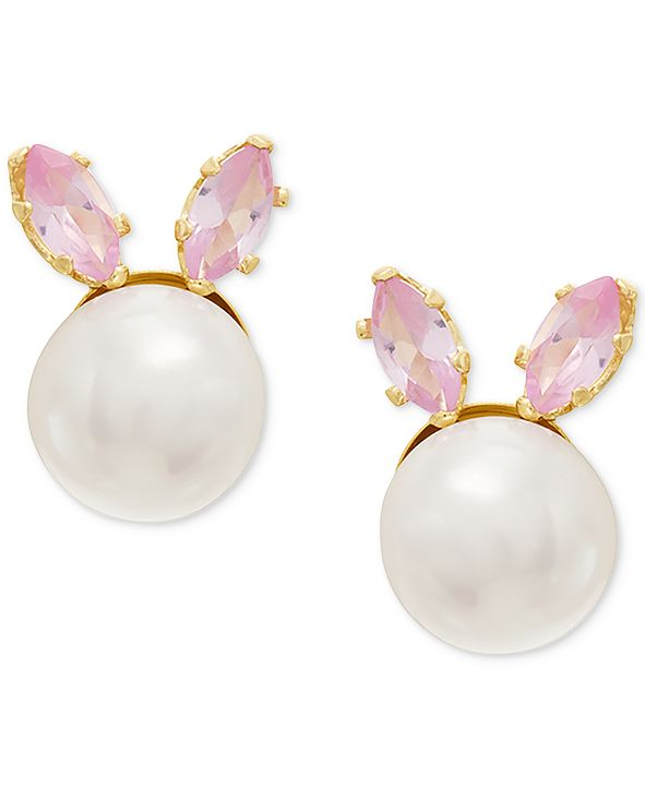Macy's Children's Cultured Freshwater Button Pearl (5-3/4mm) & Cubic Zirconia Bunny Stud Earrings in 14k Gold