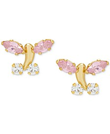 Children's Cubic Zirconia Butterfly Stud Earrings in 14k Gold