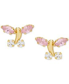 Children's Cubic Zirconia Butterfly Stud Earrings in 14k Gold
