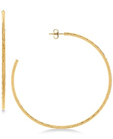Textured Skinny Hoop Earrings in 14k Gold